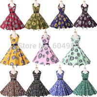 2015 Halter Cotton Print Pattern 50s 60s Rockabilly Women Vintage Retro Swing Pinup Party Winter Dress plus size 6292