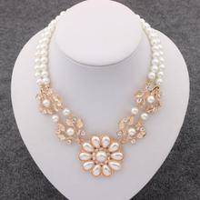 New Charm Bohemia Jewelry Crystal Pearl Flower Bib Choker Chunky Statement Collar Necklace