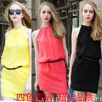 2014 European & American women candy-colored sleeveless vest dress lady chiffon dress chiffon halter bottoming with belt