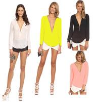 Sexy Long Sleeve Chiffon Blouse New 2015 Fashion V-neck Women Slim Zipper Casual Shirts Plus Size Crop Tops blusas femininas