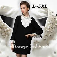 L-5XL Brand Ladies Black White Pearl Beaded Ruffles Long Sleeve Princess Dress 2014 Autumn Winter Plus Size Women Clothing G307
