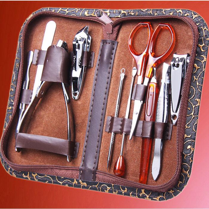 10pcs/set Nail Clipper Kit Nail Care Set Pedicure Scissor Tweezer Knife Ear pick Utility Manicure Set Nail tools Free shipping(China (Mainland))