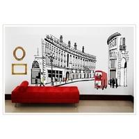 European Landscape Rome Street Bus Decal Vinyl Wall Stickers PVC Removable DIY Home Art Room House Adesivos Decorativos