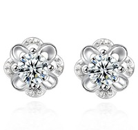 FD1201 Hollow Silver Plated Crystal Rhinestones White Sapphire Earring Stud