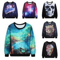 New 2015 Unisex Brand Tops Autumn Fashion 3D Print Sweatshirt Skull Galaxy Tiger Pattern Hoodies Woman/Man Brand Coat Jacket