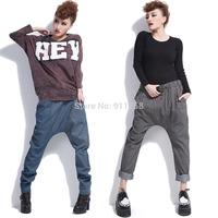 Hot Sales Figure Flattering Women Strip Casual Pants Hip Hop Style Baggy Harem Hippie Pants Black/ Blue Strip Free Size FS3037