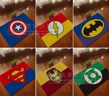 1 pcs 40 * 60 cm superman Batman Captain America Iron Man series mats Super soft cartoon bathroom  carpet superman door mat(China (Mainland))