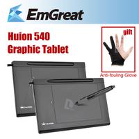 2Pcs/Lot HUION 540 Digital Graphics Tablets Drawing Mesa Digitalizadora W/ Pen Professional USB Pad+Anti-fouling Glove as Gift