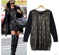 2015 winter fashion long-sleeve basic shirt loose slim long-sleeve dress women o-neck long-sleeve plus size L-XXL 355