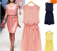 Spring 2015 summer casual beading sleeveless brief dress knee-length party dresses chiffon gowns vestidos de festa sales 356