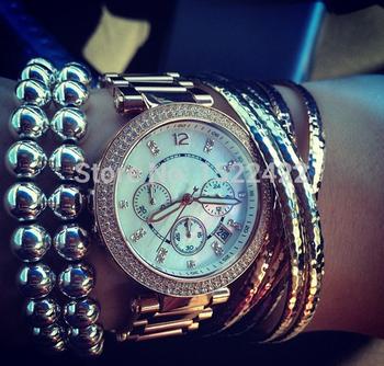 2014 новый goldren на серебро выросли на золото горный хрусталь полный стали женщин kors часы высокое качество леди наручные часы с логотипом