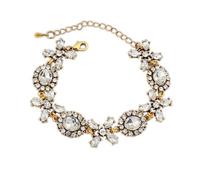 Free Shipping Fashion Gold Flower Charm Crystal Bracelet Bangle Jewelry Classic Clear Glass Crystal Dot Bracelet SL108316