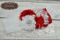 Retail ! Shabby Flower With Sparking Rhinestone Matching Lace and Feather Baby Headbands Luxe Headband
