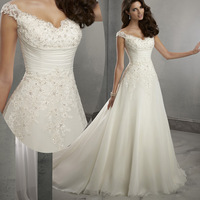 2015 Summer Beach Sexy Cap Sleeve Lace A Line Wedding Dresses Bridal Gowns Chiffon Buttons W3745