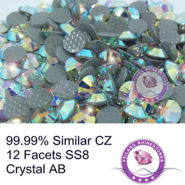 1440 pces cristal ab tamanho pequeno ss8 12 máquina facetas corte 99.99% semelhante cz strass hotfix projetos diy(China (Mainland))