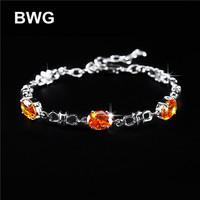 BWG Fashion Jewelry Trend Bracelets Silver Plated A+++ Orange Cubic Zirconia Copper Bracelet For Women SS1013