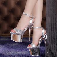 Women fashion shoes 2014 platforms heels women ultra high heels 19 cm women's pumps open toe shoes ladies sexy club high heel