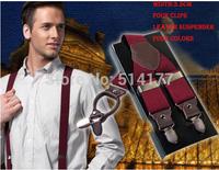 2015 fashion classic man leather brace suspenders 3.5 cm width Adjustable Four Clip-on suspenders braces Men's Gift