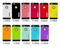 100pcs Armor TPU Silicon Hard Plastic Back Stand Case for iPhone 6 Plus Slim Kickstand Spliced Colours Cases