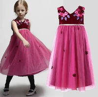 Free Shipping,1pcs/lot, 2014 new girl's dress,children mon** brand flowers design girl's dress,3-12year,purple color