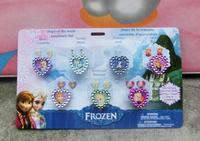 New Arrival 8sets (56pcs) Cartoon Frozen Princess Children Plastic Rings for Kids Girls as gift