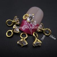 10pcs Zircon nail stone diamond shape design for nais decoration jewelry findings pendant MNS729