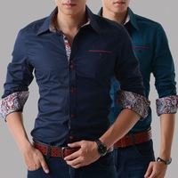 2015 Brand New Button Designer Mens Dress Shirts High Quality Printed Long-Sleeved Casual Shirt Men Camisas Social Floral Shirt