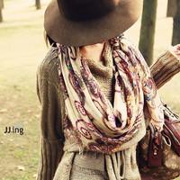 Cotton voile Geometric Pattern Retro Vintage Women Bohemian Style Scarves Warm Long Soft Scarf Wrap Shawl Winter New