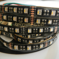 New 16.4FT 5M 5050 4 Colors in 1 LED Black PCB RGB+Warm White IP65 Waterproof Flexible Strip Light DC 12V with tracking number