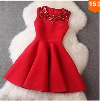 Women's Red Dresses 2014 Winter Dress Red Sleeveless Sequined Mini Dresses Black Princess Office Casual Women Dress