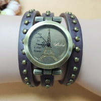 Fashion casual leather bracelet watch tower winding circle more rivet style wholesale men and women's Dress Watches