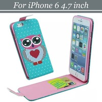 10pcs/lot Free Shipping Magnetic Flip Polka Dot Owl PU Leather Case with 2 Card Slots For iPhone 6 4.7 inch