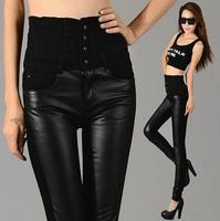 2014 winter women leather pants fashion elastic leather leggings pants casual high waist Sexy pant black warm  pants s322