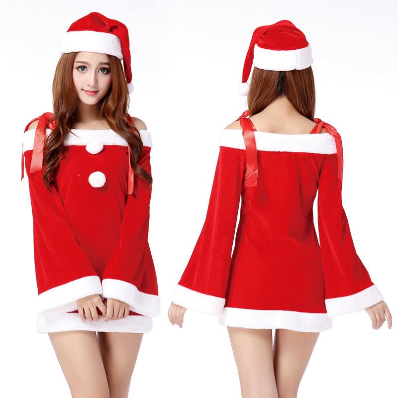 Christmas font b cute b font dress red slash neck dresses font b