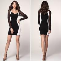 Women's slim beauty care gauze patchwork tight-fitting slim hip sexy fashion long-sleeve dress