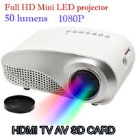 1080P full HD Mini LED Projector for Home Multimedia Cinema Support AV TV VGA  USB HDMI SD 320 x 240 50lum Remote Control