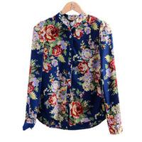2014 NEW hot Female fashion Sexy Slim Floral Chiffon Blouse long-sleeved woman shirt