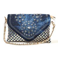 blue canvas bag 2014 new women's canvas bag fashion cowboy diamond woven ladies package layer three shoulder cross bag