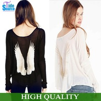 New 2014 Novelty Prattern Back Angel Sleeve Print T Shirt Women  Long Sleeve Cotton Tops Cosy Simple Knitted Thin Casual Blusas