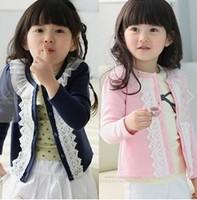 2014 spring autumn girls princess lace flower tops kids long-sleeve cardigan pink blue