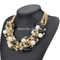 Fashion Women Jewelry Elegant Chunky Layers imitated Pearls Choker Bib Statement Necklace Wholesale Jewelry necklace