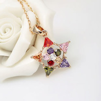 Fashion Multicolor AAA Zircon Stone Star Nickel, Cadmium free 18K Yellow Gold Filled Jewelry