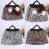 4pcs/lot 2014 autumn winter girls fahion leopard warm skirt children skirt with flower