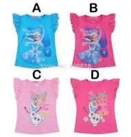 2014 Frozen Elsa Olaf Girls Children Fashion Princess chiffon summer T-shirts /shirt mix 4 colour B001