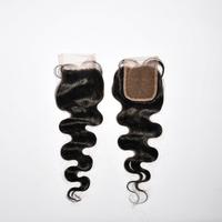 "Peruvian Lace Closure Body Wave Bleached Knots 4""*3.5"" 100% Unprocessed Virgin Human Hair Closure Shipping Free"