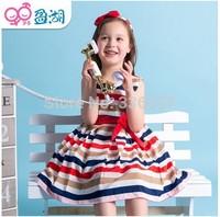 The 2014 Summer Kids Girls striped dress female children princess child vest dress rainbow girl dress