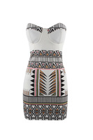 summer strapless women party dress backless print bodycon hollow chest one piece mini dress