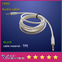TPE audio cable TRRS white 100cm ( free shipping 30unit / lot )