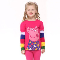 One Piece Peppa Pig Casual girls Fashion Clothing Summer Cartoon Lovely Tshirt Children Tops