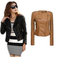 Women Clothing Sheepskin Female Regular Time-limited Zippers Autumn Slim PU Leather Ladies Jacket Coat Free shipping